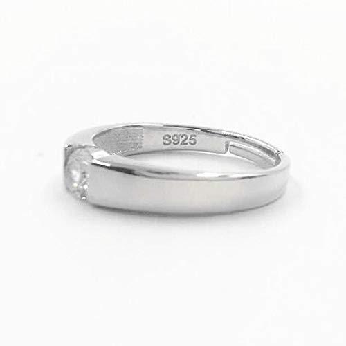 WHX DamenRingeEdelstahl,S925 Sterling Silber Ring männlich offen glänzend Zirkon Ring geometrischen Schmuck (Männliche Sterling Silber Ringe)