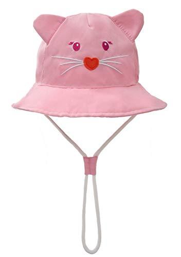 Foruhoo Baby Sonnenhut Kinder Hut, Sommerhut Mütze for Jungen Mädchen mit Verstellbar Kordelzug (48cm / 6-12 Monate,Katze) -