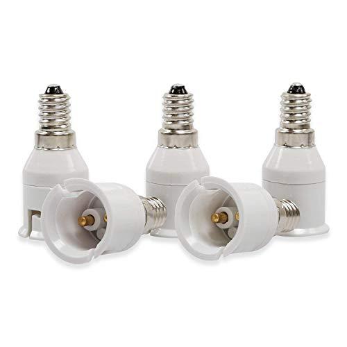 Yblntek Lot de 5 supporats de lampe Adaptateur d'ampoule lumière LED, Plastique Métal, E14 to B22, E14 to B22, E14