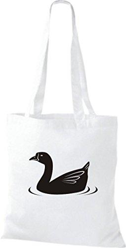 Shirtstown Stoffbeutel Tiere Ente, Duck Weiß