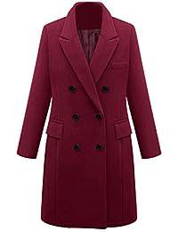 MRULIC 2018 Elegant Womens Winter Lapel Wool Coat Trench Jacket Long Parka  Overcoat Outwear Plus Size 35217389432fe