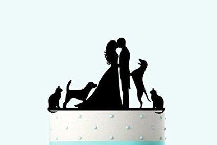 Vintage Hochzeit Kuchendekoration Braut und Groom Kissing Silhouette Acryl mit Hund und Katze (Tag Dog Flower)