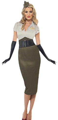 erdbeerloft - Damen Karnevalskostüm Army Darling mit passender Kopfbedeckung , M, Khaki