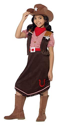 Smiffys, Kinder Mädchen Cowgirl Deluxe Kostüm, Oberteil, Rock, Hut und Halstuch, Größe: S, 45249