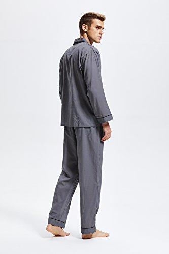 Herren Schlafanzug Baumwolle Langarm Pyjama mit Hosen Klassische Nachtwäsche Zweiteiliger von Tony & Candice Grau