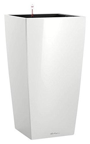 """LECHUZA""""CUBICO Premium 40"""" Pflanzgefäß mit Erd-Bewässerungs-System, Weiß Hochglanz, 40 x 40 x 75 cm"""