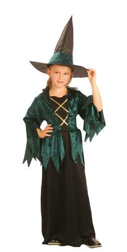 Party Partners 86808 Kinder-Kostüm Grüne Hexe, 7-9 Jahre -Hexen-Kostüm-Halloween-