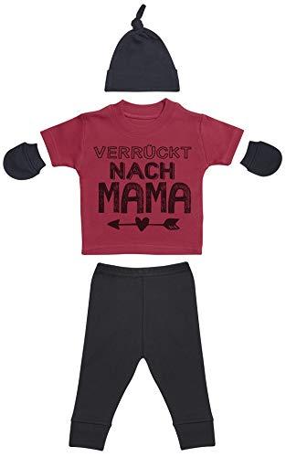 Verrückt nach Mama Rot Baby T-Shirts, Schwarz Baby Hüte/Mützen, Schwarz Baby Fäustlinge, Schwarz Baby Hose, Bekleidungssets Geschenkset - 0-3 Monate (Baby-hüte Verrückte)
