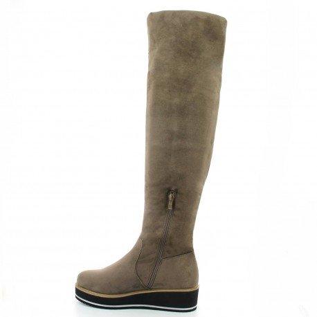 Ideal Shoes - Cuissardes effet daim avec semelle compensée Isabela Taupe