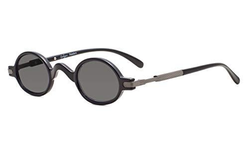 Eyekepper Sonne Leser Federschanier Buegel Klassiker Mini Kleine Oval Rund Lesung Sonnenbrille Linsen Grau +2.25