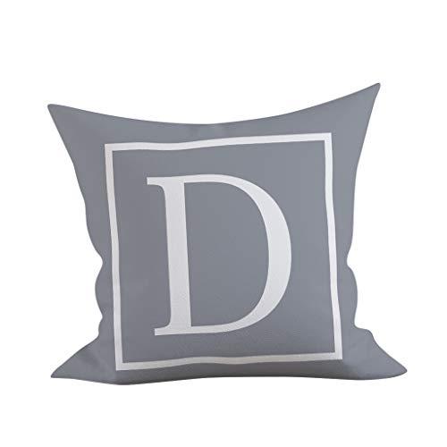Gokomo federe dell'abbraccio del sofà della copertura del cuscino della casa del modello di alfabeto inglese federa per cuscino(d,45x45 cm)