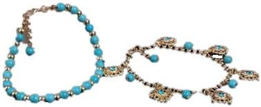 Ginie'sWishKart Anklet Jewellery Turquoise Beads Set Diamond Discs Tassel Combination Blue Golden Anklet 2 Piece