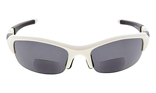 Eyekepper TR90 Unzerbrechliche Sportarten Polykarbonat Halbkugelförmige polarisierte Bifokale Sonnenbrillen Baseball Laufen Angeln Fahren Golf Softball Wandern Lesung Brille Weiß Frame grau Lens +1.5