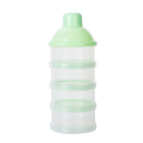 NaiCasy Leche en Polvo Recipiente dispensador de Viajes de alimentación del bebé de la Capa de Almacenamiento de 4 Productos Anti-derrame contenedor de Almacenamiento apilable Snack-BPA Free Green,