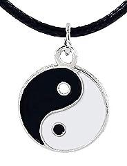 Idea Regalo - Inception Pro Infinite Collana con Ciondolo Tao Yin Yang e Laccio Nero - Bene e Male - Luce e Oscurità
