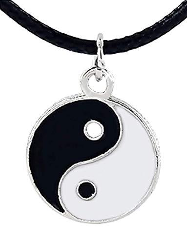 Inception Pro Infinite Collar con Colgante de Tao Yin Yang y Lazo Negro - Bien y Mal - Luz y Oscuridad