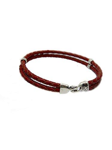 Varanda braccialetto intrecciato in pelle corda fibbia in argento Sterling bracelet-925