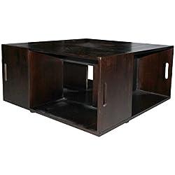 Rebecca Srl Mesas de centro Salon Madera Mesita de cafe Marron Oscuro Estilo Rustico Casa de campo (Cod. R20150830B)