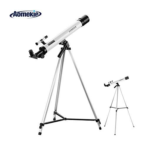 Aomekie Teleskop für Kinder Einsteiger 50/600 Telescope Astronomy mit Ausziehbares Aluminium Stativ und Suchfernrohr