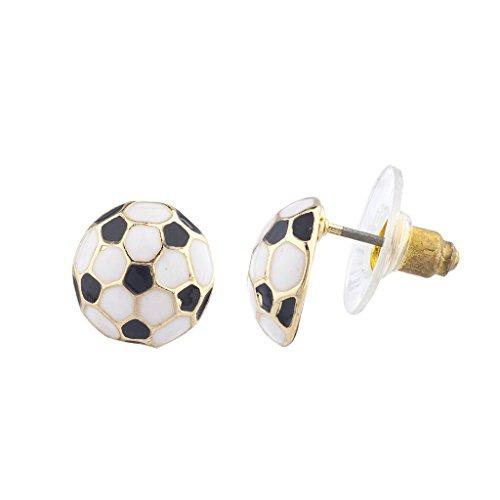 LUX Zubehör Gold Ton Schwarz Weiß Fußball Sport Post Ohrringe (Zwei-ton-gold-schmuck)