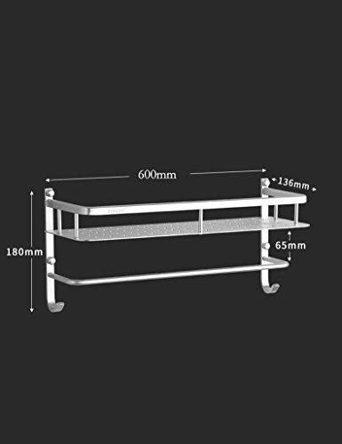 XQY Hochwertiges Küchen-Badezimmer-Regal, Raum-Aluminium-Aluminium-Regal Badezimmer-Zusätze mit Haken-Tuch-einzelner Rod-Kombinations-Rahmen, der Qualität, Tuch-Zahnstange sichert,60 cm -