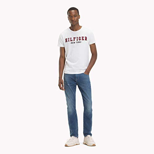 Tommy Hilfiger Herren WCC Hilfiger Outline Tee T-Shirt, Weiß (Bright White 100), Medium