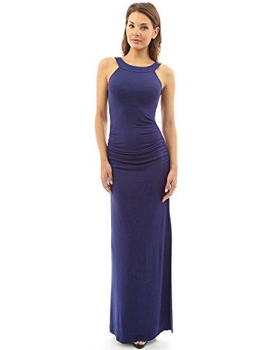 PattyBoutik femmes maxi robe froncé sans manche bleu foncé