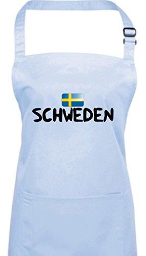 Unbekannt Coole WM Länder Schürze mit Flagge/SCHWEDEN/Farbe: lightblue (Flagge Schürze)
