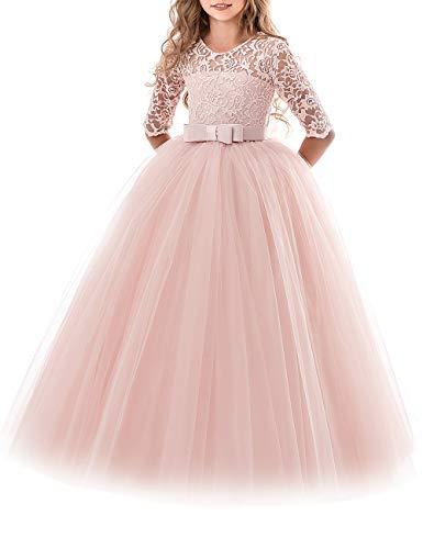 besbomig Spitze Hochzeit Prinzessin Kleid Ärmel Klavier Schule Leistung Kostüme Kleider für Mädchen 5 bis 13 Jahre altes Mädchen (Halloween-kostüme 11 Im Mädchen Für Von Alter)