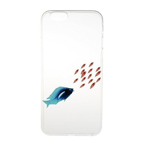 """Für iPhone 6 Plus/6S Plus 5.5"""" [Scratch-Resistant] Weichem Handytasche Weich Flexibel Silikon Hülle,Für iPhone 6 Plus/6S Plus 5.5"""" TPU Hülle Back Cover Schutzhülle Silikon Crystal Kirstall Durchschaue Fische"""