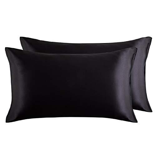 Bedsure Satin Kissenbezüge 40 x 80 cm Schwarz - 2 Stück Kopfkissenbezüge aus hochwertige Mikrofaser für Haar- und Hautpflege -