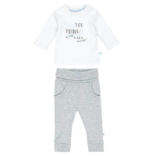 Feetje Baby-Jungen Zweiteiliger Sweat-Anzug Cookies and Milk, weiß-grau Melange, 56 -