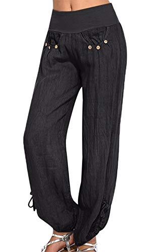 Vertvie Damen Hosen Lang Einfarbig Harem-Stil Pumphose Haremshose Sommerhose Yogahose Aladinhose Pluderhose mit Elastischen Bund(Schwarz, EU M/Etikettengröße L)