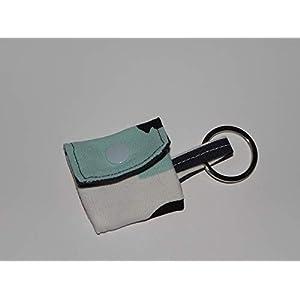 Blaues weißes Einkaufschip Täschchen, Schlüsselanhänger, Minitäschchen – handmade