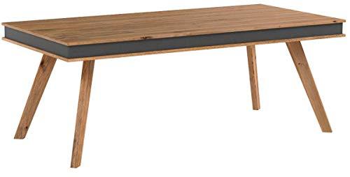 FineBuy Massiver Esstisch Karna Sheesham Massiv Holz 200 x 100 cm mit Kunstleder | Design Esszimmertisch Holztisch Groß | Moderner Landhaus Tisch für Esszimmer rechteckig rustikal