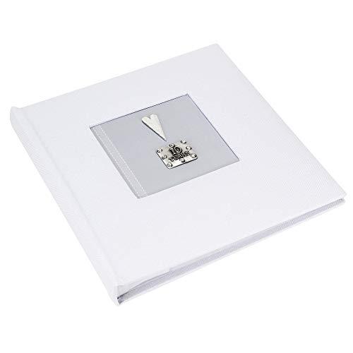 Metal Planet Ltd 10 Years Tin Anniversary Fotoalbum, Leinen, Weiß Für 100 Fotos à 15,2 x 10,2 cm in transparenten Hüllen mit Beschriftungsfeld für Beschriftungen - Jubiläum-diamant-band
