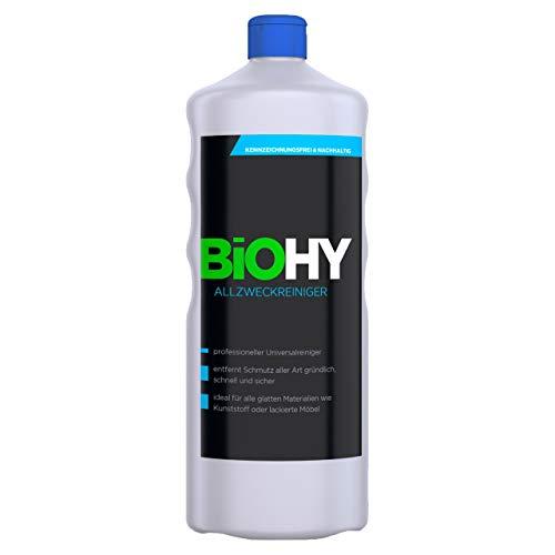 BIOHY Allzweckreiniger 1 Liter Fl. 1er Pack BIO-Konzentrat Allesreiniger/Universalreiniger, Profi Haushalts-Reiniger, Reinigungsmittel kennzeichnungsfrei, nachhaltig und wirtschaftlich