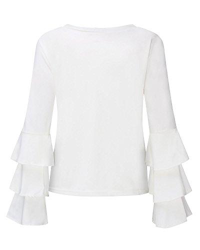 StyleDome Donna Maglietta Manica Lunga T-Shirt Top Elegante Casual Maglia Girocollo Autunno Nuovo Bianco
