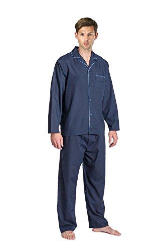 Mens-Tradizionale-A-Maniche-Lunghe-pigiama-NAVY-Grigio-o-blu-Misure-S-M-L-XL-XXL