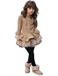 8a5d8e9edf10 Enfant Filles Robe Tricoté Long Manchon Pull Hiver Crochet Patchwork Tutu  Jupe Ensemble Princesse Costume Sweater
