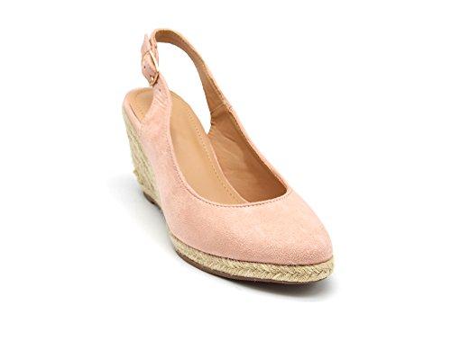 SHT35 * Sandales Espadrilles Compensées Effet Daim Rose avec Bride et Boucle Arrière Rose