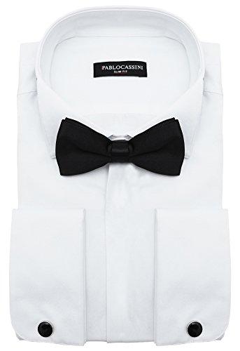 PABLO CASSINI Smokinghemd Slim Fit mit Manschettenknöpfe Fliege und Einstecktuch (XXL - Kragenweite: 45/46, Weiß)