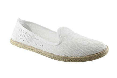buyAzzo Damen Sommerschuhe | Freizeit Slipper | Bast Espadrilles | Sisalrand Ballerinas Flats | BA530235 (37, Weiß)