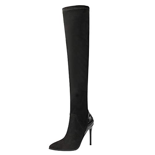 AQOOS Damen Stretch Hohe Stiefel Overknees Stilett Hoher Sexy Party Stiefel,Black-EU38=240