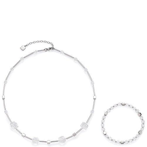 Leonardo Jewels Damen Schmuckset Halskette + Armband Cubetto klar Edelstahl Glas transparent   016289