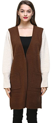 Vogueearth Fashion Femme's Ladies Batwing Manche Knit Longue Sweater Chandail Tricots Open Cardigan Marron