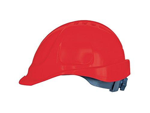 Elmetto lavoro con regolazione a scorrimento, Casco da Lavoro Casco di Protezione Casco per Cantiere (Rosso)