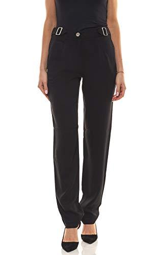 Laura Scott Hose modische Damen Bundfalten-Hose Anzug-Hose Stoff-Hose mit weitem Bein Schwarz, Größe:36