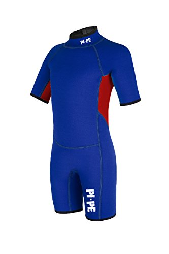 PI-PE Kinder Spring Short Sleeve Neoprenanzug, Mehrfarbig (Blau Rot), 124-130