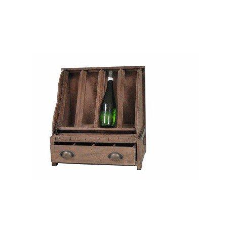 Antic Line Vin Étagère à vin Support pour 4 Bouteilles avec tiroir